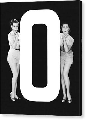 The Letter o  And Two Women Canvas Print by Underwood Archives