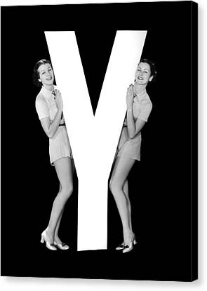 Full Skirt Canvas Print - The Letter y And Two Women by Underwood Archives