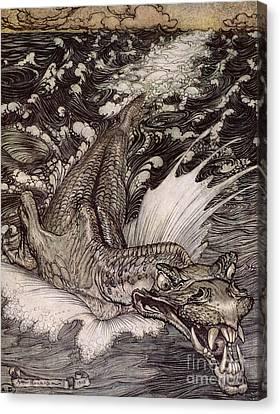The Leviathan Canvas Print by Arthur Rackham