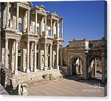 Library Of Celsus Canvas Print - The Library At Ephesus by Alex Cassels