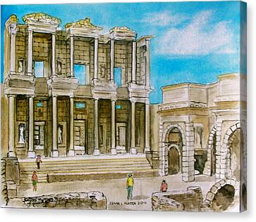 The Library At Ephesus Turkey Canvas Print by Frank Hunter