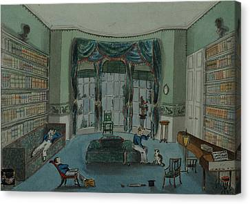 The Library, C.1820, Battersea Rise Canvas Print by English School
