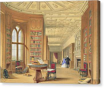 The Library, Windsor Castle, 1838 Canvas Print by James Baker Pyne
