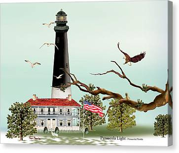 The Light House At Pensacola Canvas Print by Anne Beverley-Stamps
