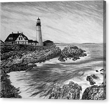 Maine Landscape Canvas Print - The Lighthouse by Bobby Shaw