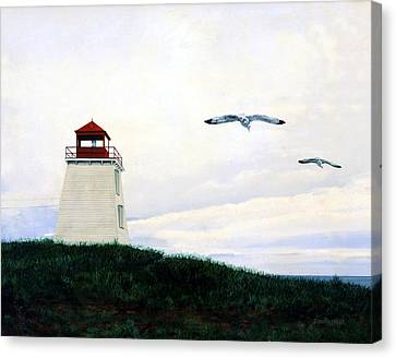 Canvas Print featuring the painting The Lighthouse by Ron Haist