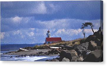The Lighthouse With The Red Roof. Canvas Print