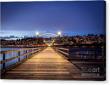 The Lights Of White Rock Beach - By Sabine Edrissi Canvas Print by Sabine Edrissi