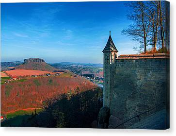 The Lilienstein Behind The Fortress Koenigstein Canvas Print