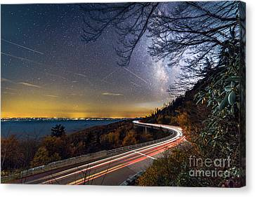 The Linn Cove Viaduct Milky Way Light Trails Canvas Print