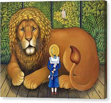 Lions Canvas Print - The Lion And Albert, 2001 by Frances Broomfield