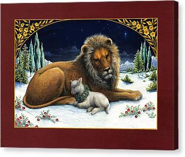 Bible Canvas Print - The Lion And The Lamb by Lynn Bywaters