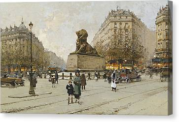 Youthful Canvas Print - The Lion Of Belfort Le Lion De Belfort by Eugene Galien-Laloue