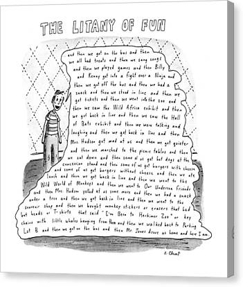 The Litany Of Fun ...and Then We Got On The Bus Canvas Print by Roz Chast