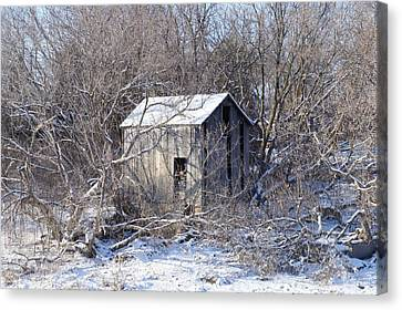 Canvas Print featuring the photograph The Little Barn by Kristine Bogdanovich