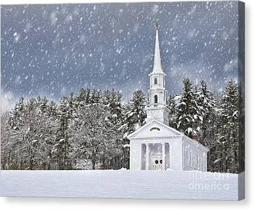 Martha Mary Chapel Canvas Print - The Little Chapel In Winter by Jayne Carney