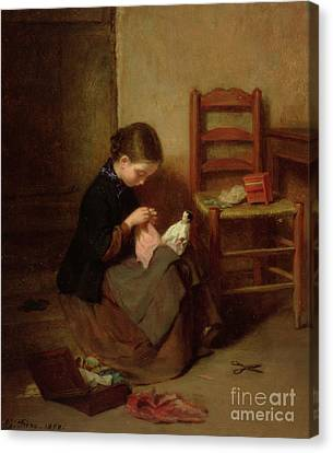 Sewing Canvas Print - The Little Dressmaker by Pierre Edouard Frere