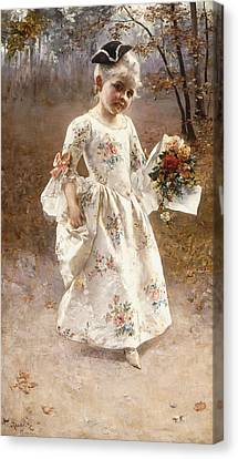 Youthful Canvas Print - The Little Flower Girl  by Albert Raudnitz