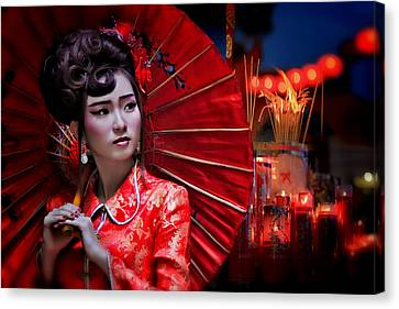 Geisha Girl Canvas Print - The Little Girl From China by Joey Bangun