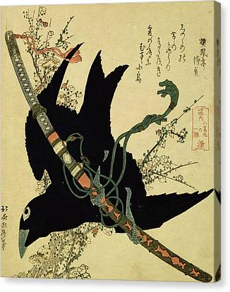 The Little Raven With The Minamoto Clan Sword Canvas Print by Katsushika Hokusai