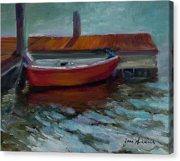 The Little Red Boat Canvas Print by Jane Woodward