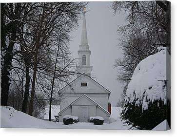 Canvas Print featuring the photograph The Little White Church by Dora Sofia Caputo Photographic Art and Design