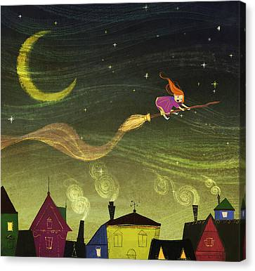 The Little Witch Canvas Print by Kristina Vardazaryan