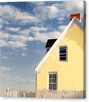 The Little Yellow House At The Seawall Canvas Print by Karen Lynch