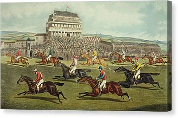 The Liverpool Grand National Steeplechase Coming In Canvas Print