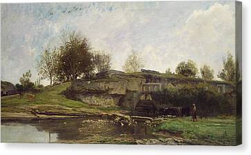 Charles River Canvas Print - The Lock At Optevoz by Charles Francois Daubigny