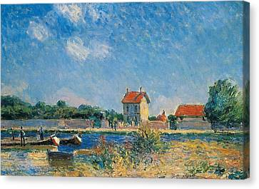 The Loing Canal At Saint-mammes Canvas Print by Alfred Sisley