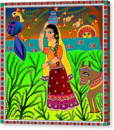 The Lonely Radha-madhubani Style-digital Canvas Print