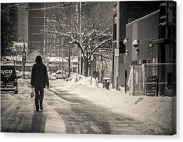 The Lonely Snowy Walk Canvas Print