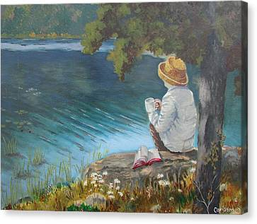 Canvas Print featuring the painting The Loner by Tony Caviston