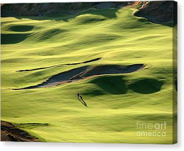 Canvas Print featuring the photograph The Long Green Walk - Chambers Bay Golf Course by Chris Anderson
