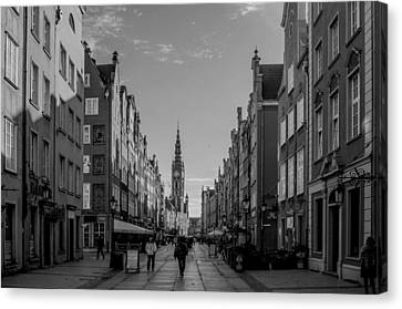 The Long Lane In Gdansk Bw Canvas Print by Adam Budziarek
