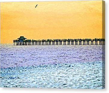 The Long Pier - Art By Sharon Cummings Canvas Print by Sharon Cummings