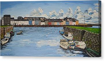 The Long Walk Boats Galway Ireland Canvas Print by Diana Shephard