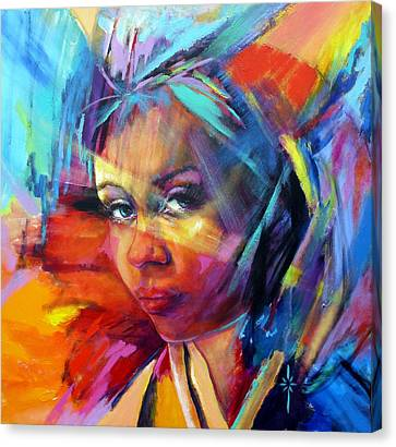 Canvas Print featuring the painting The Look by Jodie Marie Anne Richardson Traugott          aka jm-ART