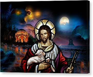Canvas Print featuring the digital art The Lord Is My Shepherd by Karen Showell