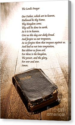 The Lord's Prayer And Bible Canvas Print