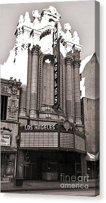 The Los Angeles Theatre - Black And White Canvas Print by Gregory Dyer
