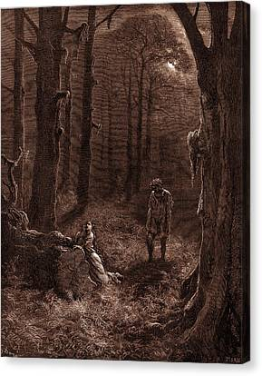 The Lovers In The Moon-lit Forest Canvas Print