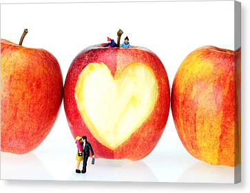 The Lovers In Valentine's Day Little People On Food Canvas Print by Paul Ge