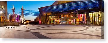 The Lowry Complex At Dusk, Salford Canvas Print by Panoramic Images