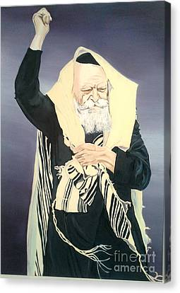 The Lubavitcher Rebbe Farbrengs Canvas Print by Elana Cohen
