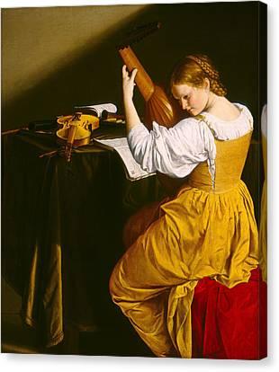 Lute Canvas Print - The Lute Player by Orazio Gentileschi