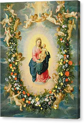 The Madonna And Child In A Floral Garland Canvas Print by Brueghel and Balen