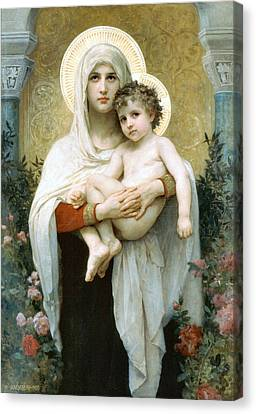 The Madonna Of The Roses Canvas Print by William Bouguereau