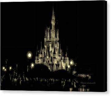 The Magic Kingdom Castle At Midnight Canvas Print by Thomas Woolworth